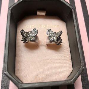 Juicy Couture earrings butterflies crown backs